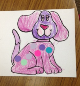 Colorful spotted dog created by Claire
