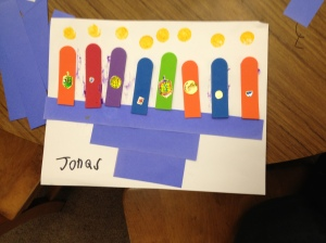 Paper and Foam Craft Stick Menorah from Jonas